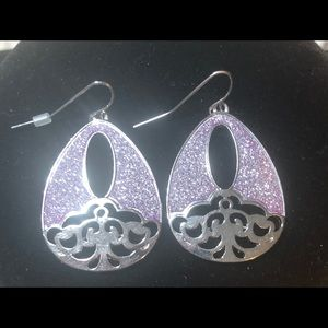 A pair of stainless steel and quartz earrings